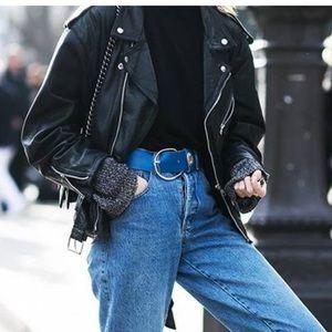 Zara long faux leather Moto jacket